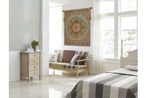 Les Rosaces in Blue French Tapestry Wall Hanging