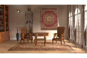 Les Rosaces in Red French Tapestry Wall Hanging