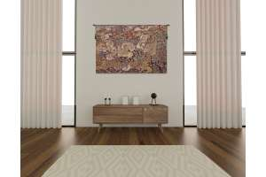 The Winged Stags Maroon European Tapestry Wall Hanging
