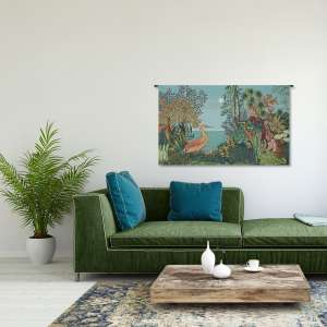 Paysage Heron Lac Foret French Tapestry