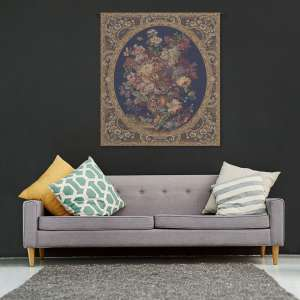 Floral Composition in Vase Dark Blue Italian Tapestry