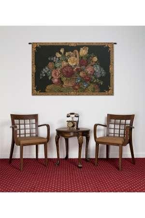 Flower Basket Black II Italian Tapestry Wall Hanging