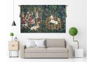 Unicorn Captive and Unicorn Hunt European Tapestry Wall Hanging