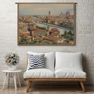 View of Florence and the Arno Italian Tapestry Wall Hanging