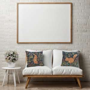 Medieval Rabbit Standing French Tapestry Cushion