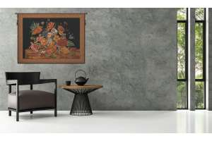 Flora Cotta Black European Tapestry Wall Hanging