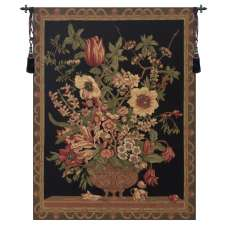 Century Floral Black European Tapestry