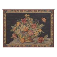 Panier de Fleurs fond Bleu French Tapestry Wall Hanging