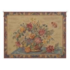 Panier de Fleurs fond Jaune French Tapestry Wall Hanging