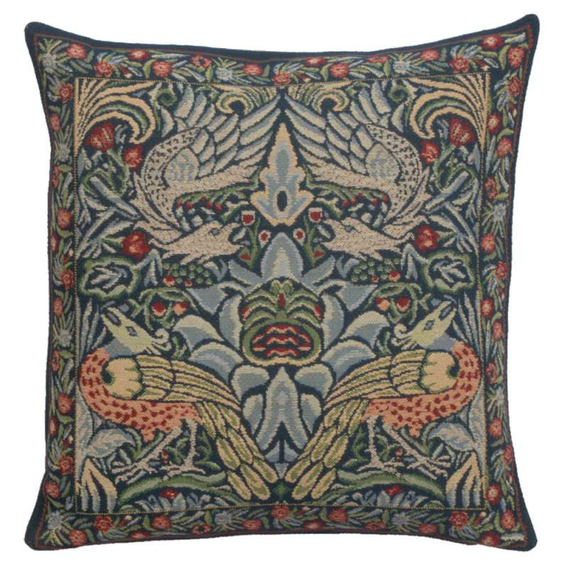 Peacock and Dragon Blue Belgian Cushion Cover