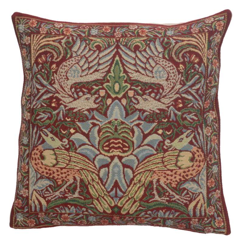 Peacock and Dragon Red European Cushion Covers