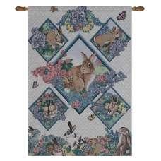 Spring Bunnies Fine Art Tapestry