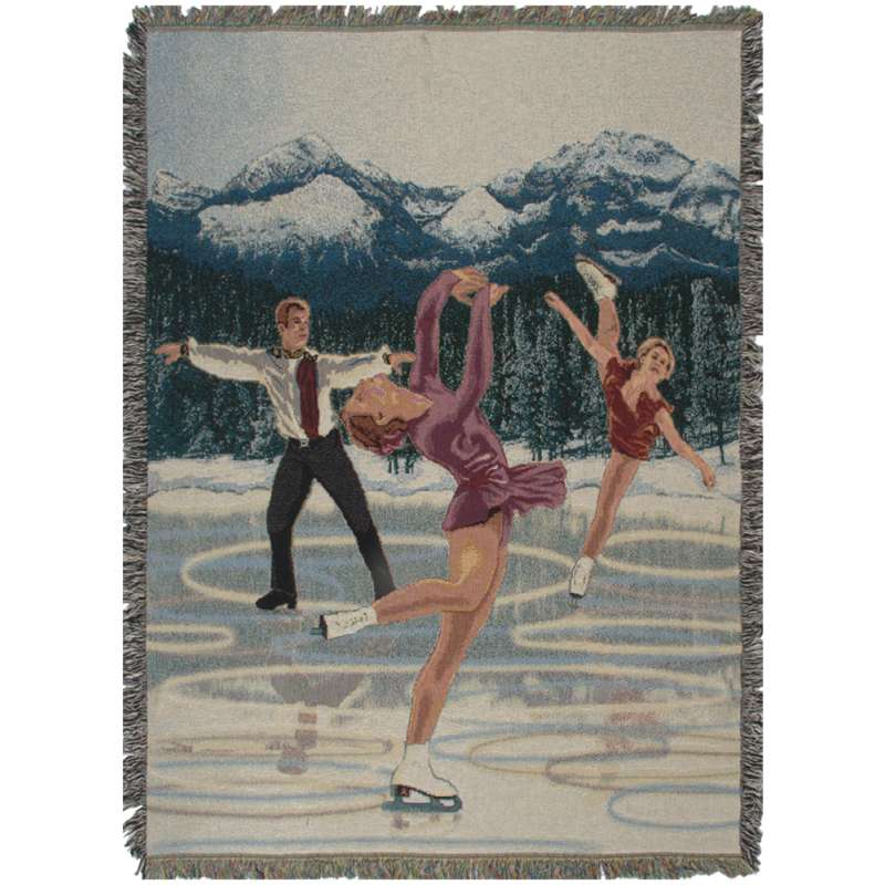Ice Skaters Tapestry Throw