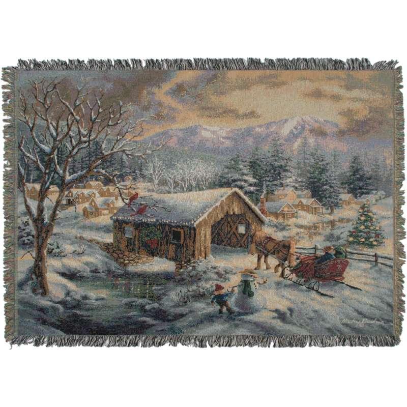 Village Covered Bridge Tapestry Throw