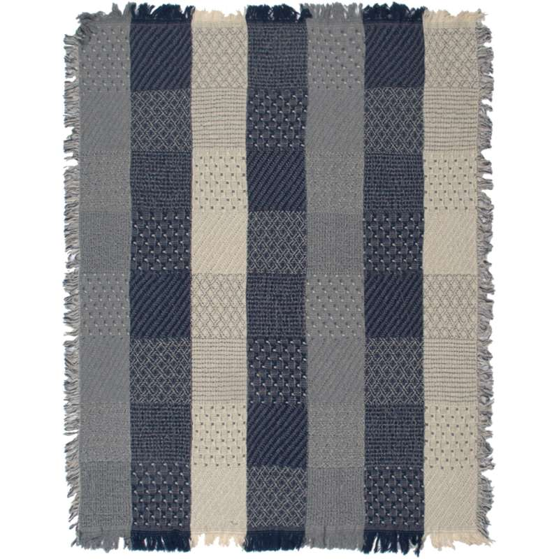Blue Jeans Block Quilt Tapestry Throw