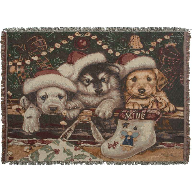 Christmas Stocking Puppies Tapestry Throw