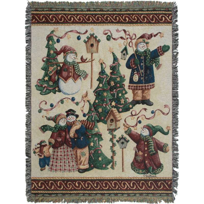 Snowman Forest Tapestry Throw