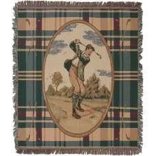 Victorian Mens Golfer Tapestry Throw