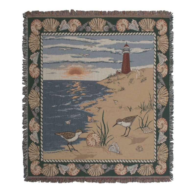 Lighthouse and Shells Tapestry Throw