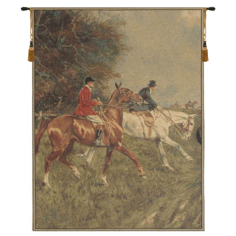 Equestrian Chase Left European Tapestry