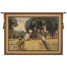 Peacock Manor with Frame Border Belgian Tapestry Wall Hanging