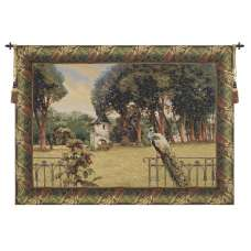 Peacock Manor with Acanthe Border Belgian Tapestry Wall Hanging