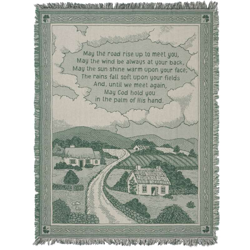 Irish Blessing Cottage Tapestry Throw