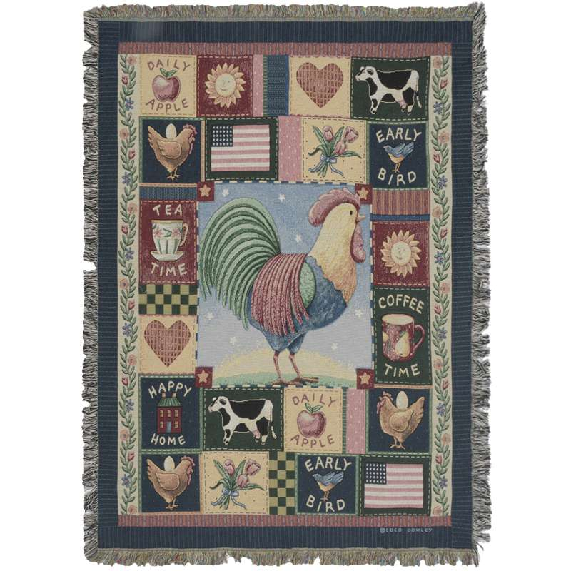 Americana Rooster Tapestry Throw