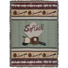 Softball Tapestry Throw