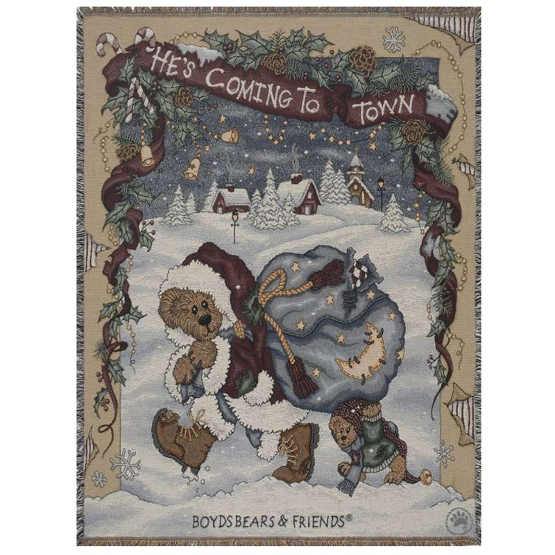 He's Coming To Town Tapestry Throw