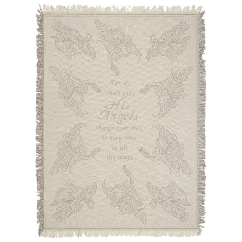 Psalm 91:11 Natural Tapestry Throw
