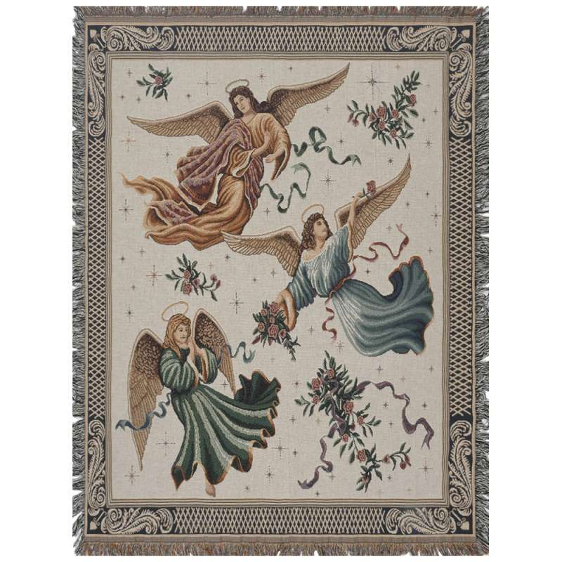 Trio of Angels Tapestry Throw