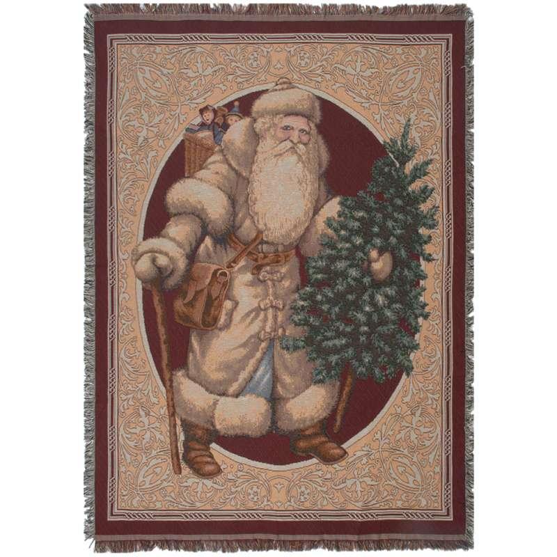 Santa Bearing Gifts Tapestry Throw