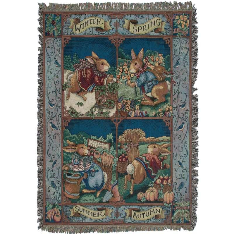 Rabbit Seasons Tapestry Throw
