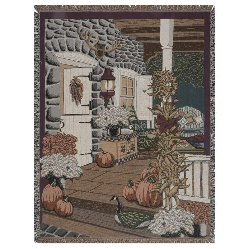 Autumn Porch Tapestry Throw