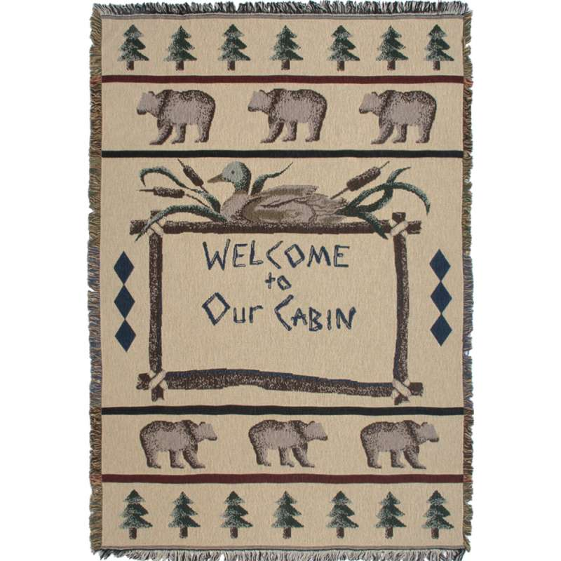 Welcome To Our Cabin Tapestry Throw