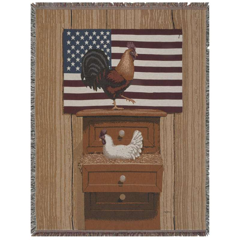 Americana Rooster and Hen Tapestry Throw