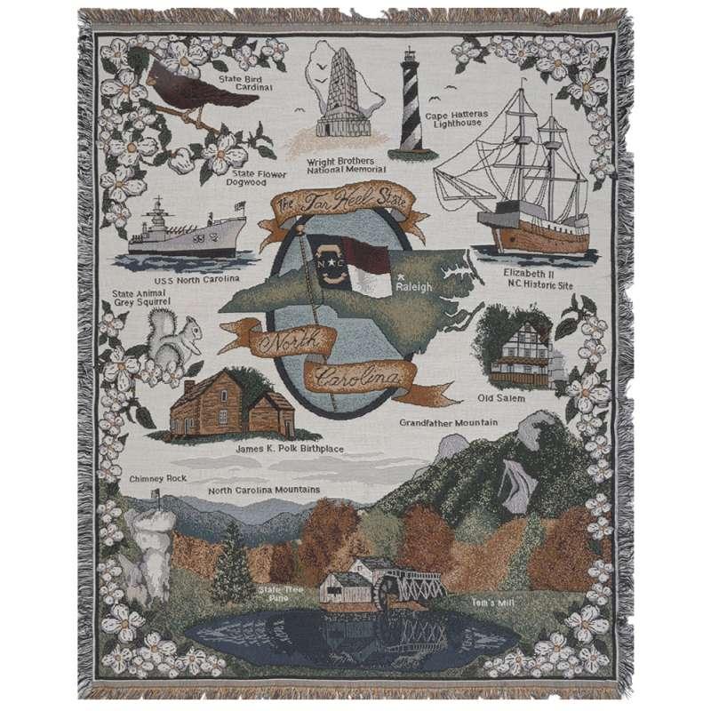 North Carolina Sights Tapestry Throw