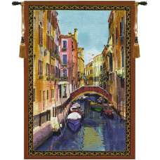 Canal with Shops Fine Art Tapestry