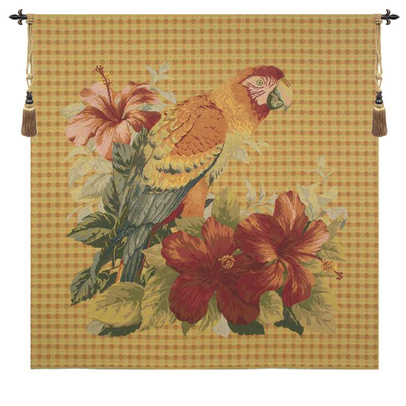 Floral Parrot with Squares European Tapestry