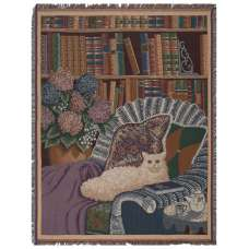 Cat In The Library Tapestry Throw