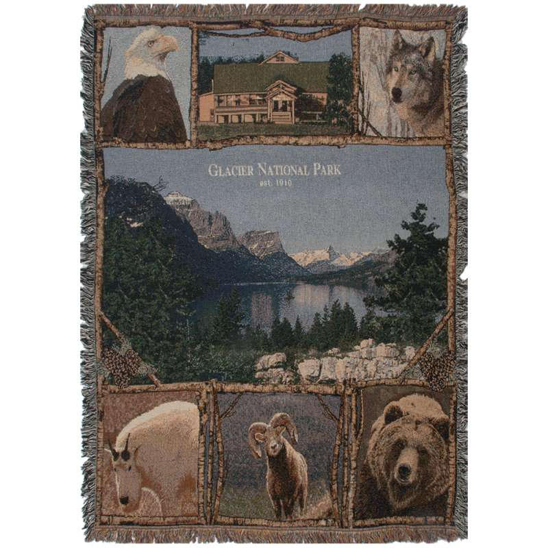 Glacier National Park Tapestry Throw