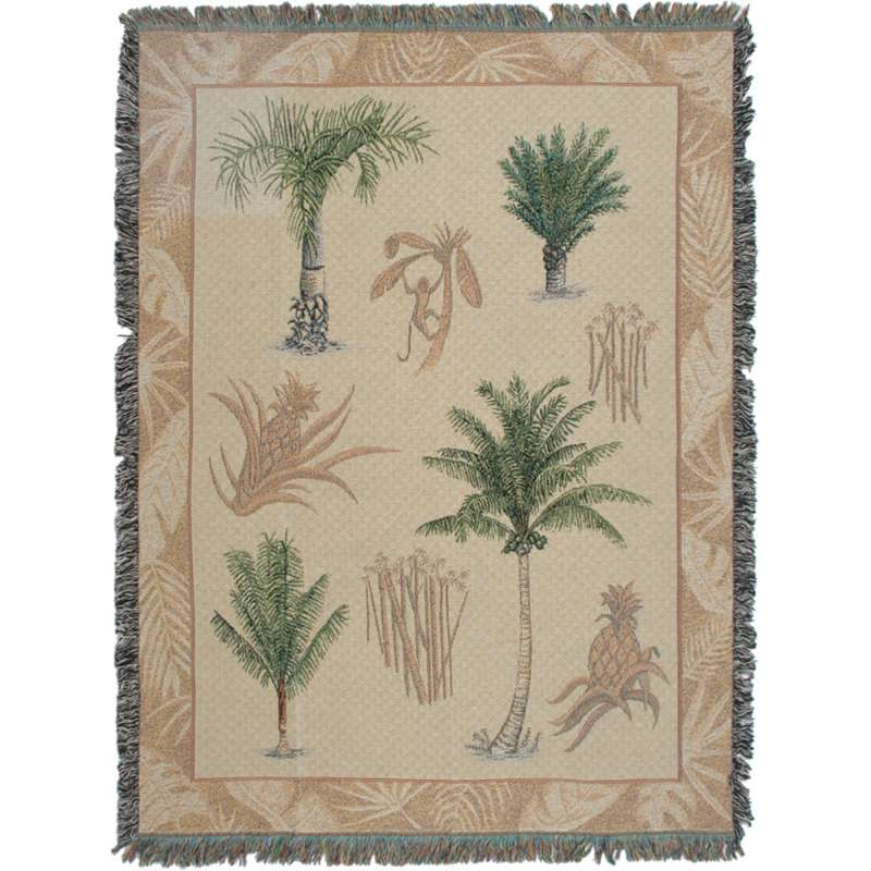 Palm Trees and Pineapples Tapestry Throw