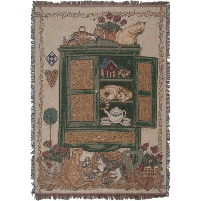 Cats Cupboard Tapestry Throw