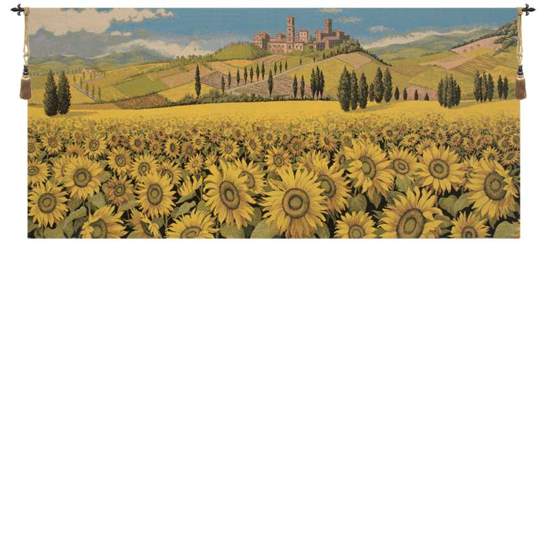 Tuscan Sunflower Wide Landscape Italian Tapestry Wall Hanging