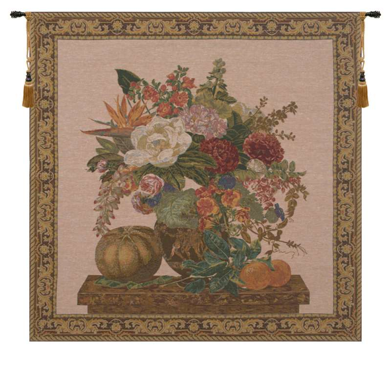 Floral Vase and Fruits European Tapestry