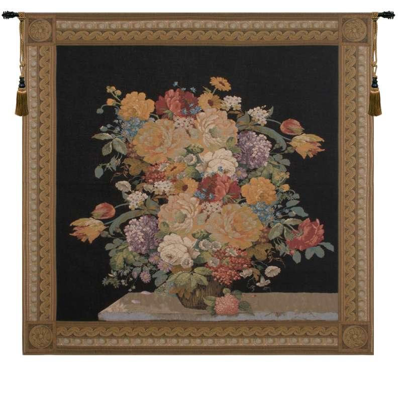 Elegant Floral  Masterpiece Black European Tapestry