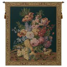Brussels Bouquet Green I European Tapestry