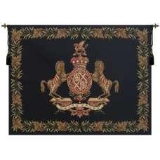 Horse Crest Black European Tapestry