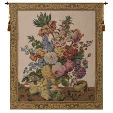 Floral with Fruits Vase Beige European Tapestry